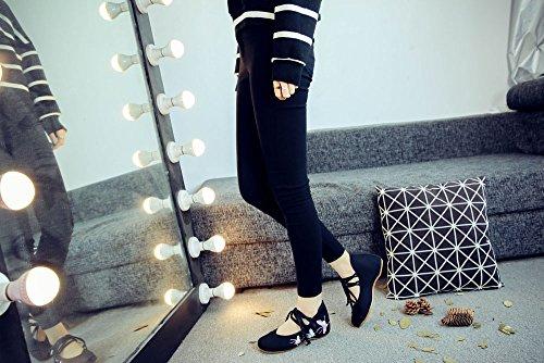 Fanwer Farfalla Ricamo Tela Scarpe da Donna Casual Appartamenti Stringate Suola Morbida Mary Janes Scarpe Nero