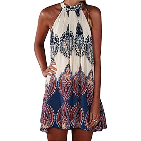 JXLOULAN vestidos retro para mujer del cuello del halter de señora impresión floja Kaftan Partido ocasionales de la playa corta vestido de