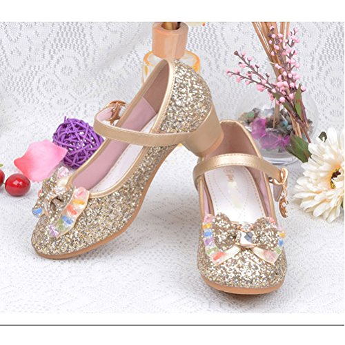 Zhuhaitf Excellent Girls Sweet Princess High Heels Kids Fashion Anti-skid Bow Shoes gold