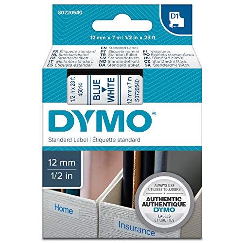 Dymo S0720540 D1-Etiketten (Selbstklebend, für den Drucker LabelManager, 12 mm x 7 m Rolle) blau auf weiß -