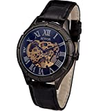 SEWOR Herren Kleid Fall Mechanische Hand Wind Leder Armbanduhr Skeleton Face (Blau)