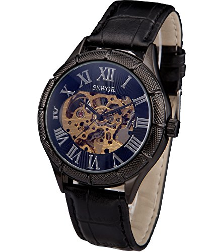 Rose Watch Skelett (SEWOR blau Hohl Skelett transparent Mechanische Armbanduhr mit schwarz Leder)