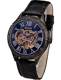 SEWOR Reloj esqueleto mecánico de viento para hombre, color negro, diseño Steampunk