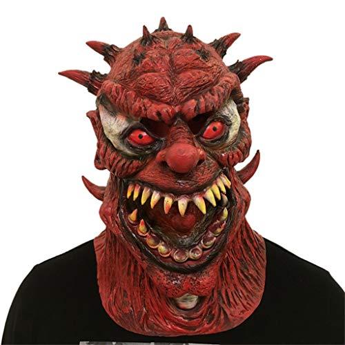 Scary Für Erwachsenen Kostüm - QinMM Halloween Cosplay Scary Mask Kostüm Für Erwachsene Party Dekoration Requisiten Maskerade Dress Up Creepy Zubehör (Rot)