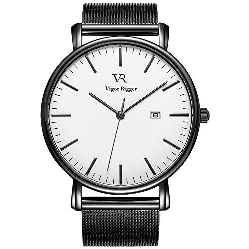 Vigor rigger orologio da uomo, da polso ultra-sottile colore nero design classico stile minimal classico con calendario e banda di maglia milanese (bianca maglia)