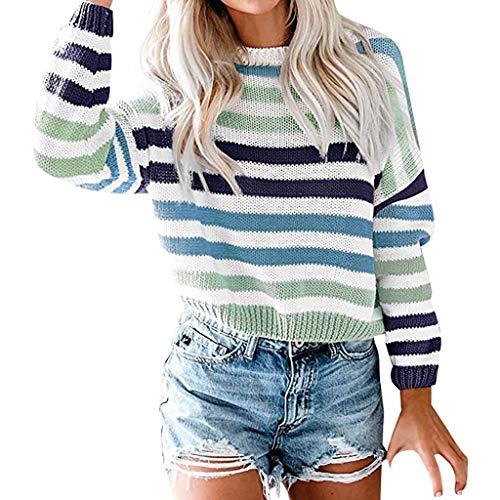Alwayswin Damen O-Ausschnitt Gestreifte Sweatshirt Mode Strickwaren Patchwork Pullover Strickpullover Farben Block Oberseiten Frauen Sweatshirts Sweater Langarmshirts Langarm Tops
