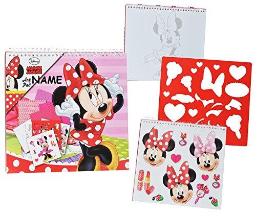 Unbekannt XL Malbuch / Malblock - mit Schablonen + Sticker Aufkleber + Buntpapier - Disney Minnie Mouse Incl. Name - für Mädchen Kinder Maus / Malbücher - Malset - Malvorlagen Zum Ausmalen Malspaß