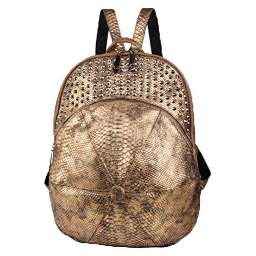 Ohmais Rücksack Rucksäcke Rucksack Backpack Daypack Schulranzen Schulrucksack Wanderrucksack Schultasche Rucksack für Schülerin golden