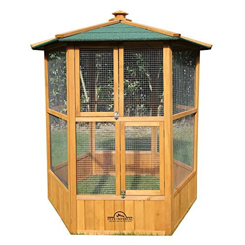 Pets Imperial® Stunning Wooden Bird Aviary Hexagonal Design