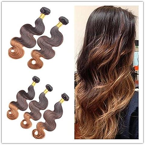 """XQXHair 3Pcs 12 """"-24"""" peruviana Ombre dei capelli umani Weave Bundle 3 Toni colore T1B / 4/30 dell"""