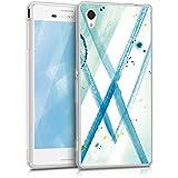 kwmobile Funda para Sony Xperia M4 Aqua - forro de TPU silicona cover protector para móvil - Case Diseño Acuarela abstracta menta azul blanco