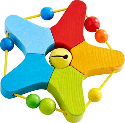 HABA 303929 - Greifling Klingelstern | Holzgreifling mit Glöckchen und Kugeln zum Verschieben | Baby-Spielzeug ab 6 Monaten