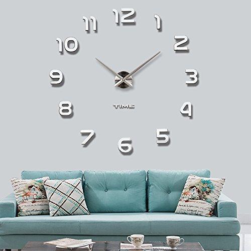 Mute DIY Reloj de pared sin marco espejo grande 3D Sticker (Plata)