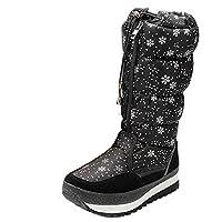 Gaorui Women Mid Calf Snow Boots Waterproof Outdoor Pull On Warm Faux Fur Lined Anti Skid Platform Boots Black