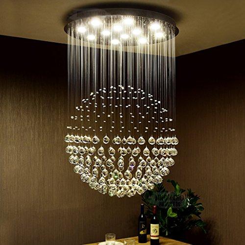 Lustre en Cristal Rond Conduit Moderne Simple Chaleureux escalier Double Chambre à Coucher Salon Restaurant lustres (Taille : 50 * 70cm (5 Heads))
