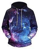 Pizoff Unisex Hip Hop Sweatshirts druck Kapuzenpullover mit Farbkleks 3D Digital Print galaxy sternhimmel