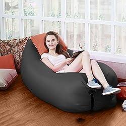 Okayji Inflatable Sleeping Bag Beach Hangout Lazy Air Bed Use For Picnic, Home - Black