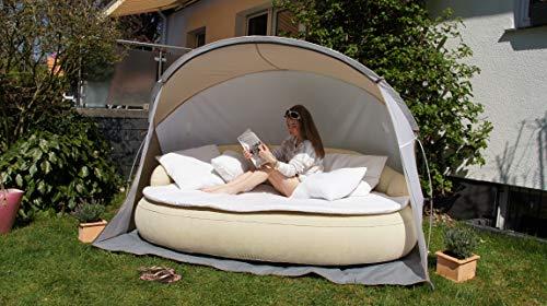 Dekovita Air-Lounge 220x130cm aufblasbare Sonneninsel inkl. Auflage Kissen Sonnendach 2-3 Personen Liege bis 200KG Beige - 4
