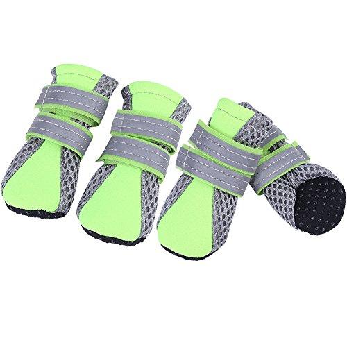 Fdit Chaussures Chien Pet Chaussures Maille Antidérapant Respirant Semelle De Protection protège-Pattes Doux Bottes pour Chiot Chien(Vert M)