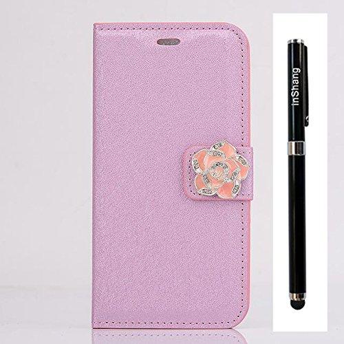 """inShang Hülle für Apple iPhone 6 Plus iPhone 6S Plus 5.5 inch iPhone 6+ iPhone 6S+ iPhone6 5.5"""", Cover Mit Modisch Klickschnalle + Errichten-in der Tasche + SILK PATTERN FLOWER DECORATION , Edles PU L camellia pink"""
