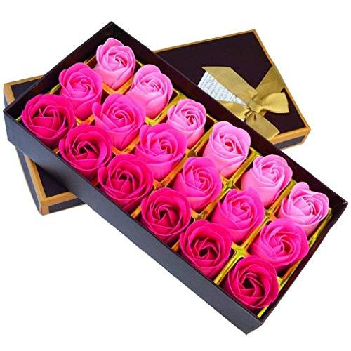 Pflanzenöl-seife (heliltd In den Leuchtkasten 18 Stück künstliche Rose Floral duftende Badeseife, ätherische Pflanzenöl Seife Set rosa Blütenblätter Geschenke für Frauen Teens Mädchen)