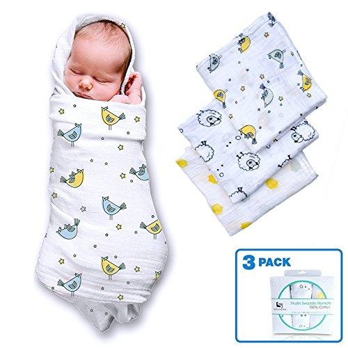 Musselin Wickeltücher für A Baby Boy & Girl (3 Pack) 100 % Baumwolle, größe 119,4 x 119,4 cm (Black Bamboo Womens)