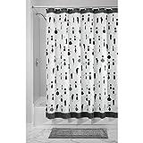 InterDesign SophistiCat Duschvorhang   Vorhang für Badewanne und Dusche  183,0 cm x 183,0 cm großer Badewannenvorhang mit Katzen-Print  Polyester schwarz/weiß