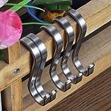 Angker Ganchos planos en forma de S de acero inoxidable pulido (SUS304) para la cocina o para las herramientas de trabajo, grosor 3 mm, Medium