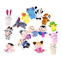XLKJ 16 Pieces Soft Educational Toys Kids Finger Puppets Cartoon Animal Toy For Child