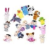 16 Pezzi Marionette Dita,XLKJ Giocattoli Educativi Burattini a Dito Finger Puppets in Velluto con 10 Animali e 6 Famiglie