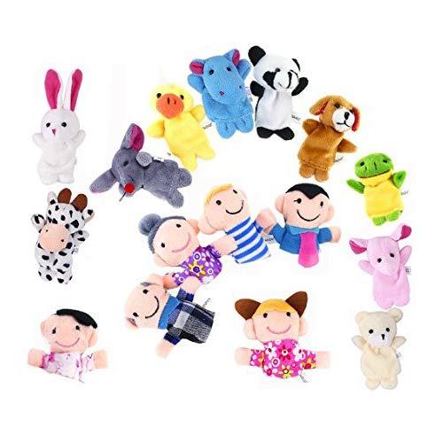 OFKPO 16 Pezzi Marionette da Dito Animali Persone Famiglia Membri Didattica Giocattolo