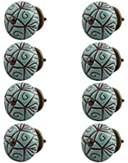 Indian-Shelf Handmade Ceramic Floral Wardrobe Knobs Etched Door Pulls Furniture Handles(Green, 1.5 Inches)-Pack of 8