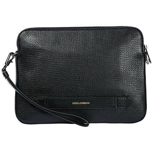 Dolce & Gabbana Handgelenktasche Leder Herren Handtasche Tasche Schwarz