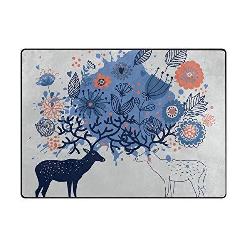 MONTOJ Art Floral Elks Schlammkratzer für Schuhe, Wohnzimmer, Schlafzimmer, Heimdekoration, Teppich, Polyester, 1, 63 x 48 inch Elk Schuhe