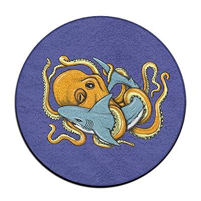 Funny Octopus Shark Round Floor Rug Doormats For Home Decorator Dining Room Bedroom Kitchen Bathroom Balcony