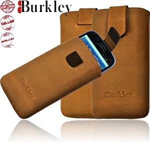 Burkley Premium Leder Handy Tasche für Samsung Galaxy S3 / SIII GT- i9300 Echt Leder Tasche Etui Case Schutzhülle in antik sahara beige-braun - Handarbeit - absolut passgenau - echtes und edles Leder - Premium Qualität