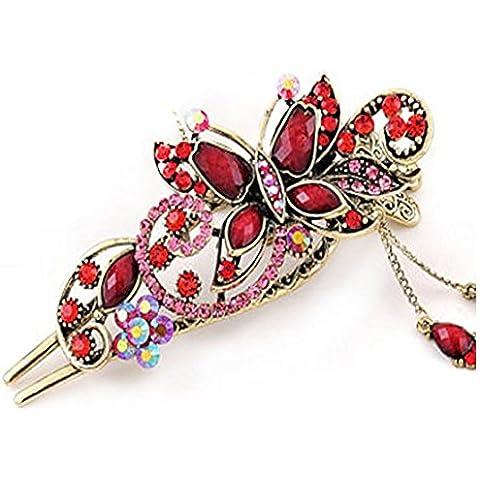 F&HY&L Farfalla dell'annata a dondolo anatra Chuck così forcella Corte colore strass capelli clip , big red - Dondolo Anatra