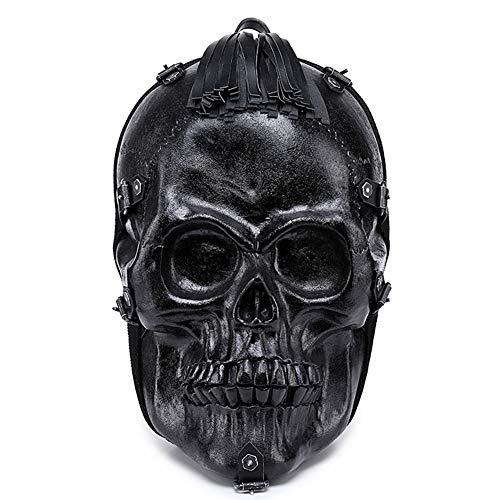 HYwot Personality Skull Rucksack, Halloween Computer Rucksack, Wasserdichter Reisetaschenrucksack mit großer Kapazität,Black,S