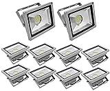 Leetop 10X 30W LED Fluter Strahler Flutlicht Kaltweiss Scheinwerfer IP65 Außen SMD Baustrahler Beleuchtung Lamp