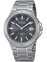 Pulsar Uhren Modern PS9125X1 - Reloj analógico de cuarzo para hombre, correa de titanio color plateado