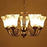 #6: Prop It Up ntique Design Brass 5 Lamps Chandelier, 38x38x25cm (Golden and Brown)