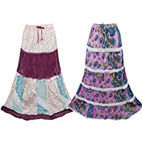 Mogul Interior 2 Pc Womens Long Skirt Printed Crinkle Cotton Flared Boho Skirts Large