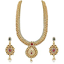 Reeva Gold Copper Necklace Earrings Jewellery Set For Women