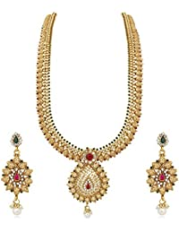 Reeva Gold Copper Necklace Earrings Jewellery Set For Women