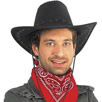 Cappello Cow Boy Nero Con Cuciture Sceriffo Western Carnevale Festa Part 13068