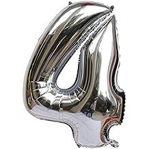 """Langxun 40 """"Silver Foil Number Globos para decoraciones de cumpleaños (número 4)"""