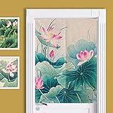 SHUNSHUNML Japanischen Stil Vorhang Lotus Chinesische Baumwolle Vorhang Vorhang Wind Vorhang Wohnzimmer Dekorative Vorhang Benutzerdefinierte Karte 85 × 120 cm