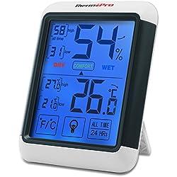 ThermoPro TP55 Termómetro Higrometro digital con gran Pantalla táctil y Retroiluminación azúl Interior Monitor de Humedad Temperatura con Medidor de Humedad Temperatura, Función de memoria