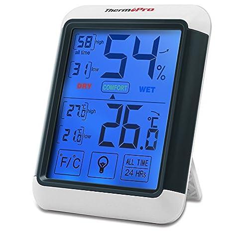 ThermoPro TP-55 Thermomètre Hygromètre Numérique, Rétroéclairage Bleu, Grand Écran LCD Tactile, Moniteur Température Humidité Sans Fil, Noir/Blanc