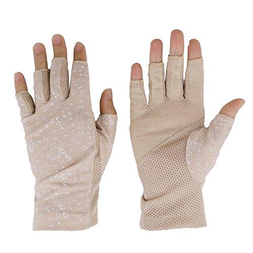 Damen Sommer Halbfinger Handschuhe Baumwolle Fahrradhandschuhe Kurz Spitzenhandschuhe Anti-Rutsch, Anti-UV Schutz, Dünn Sonnenschutz Fäustlinge Gloves für Fahren Golf Outdoor Motorrad Radfahren -